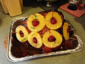 Ham with Pineapple Slices ad\and Cherries