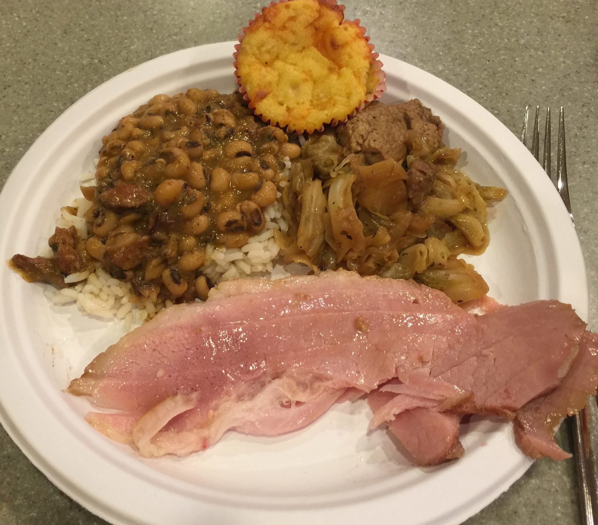 Black eye peas with ham and cabbage