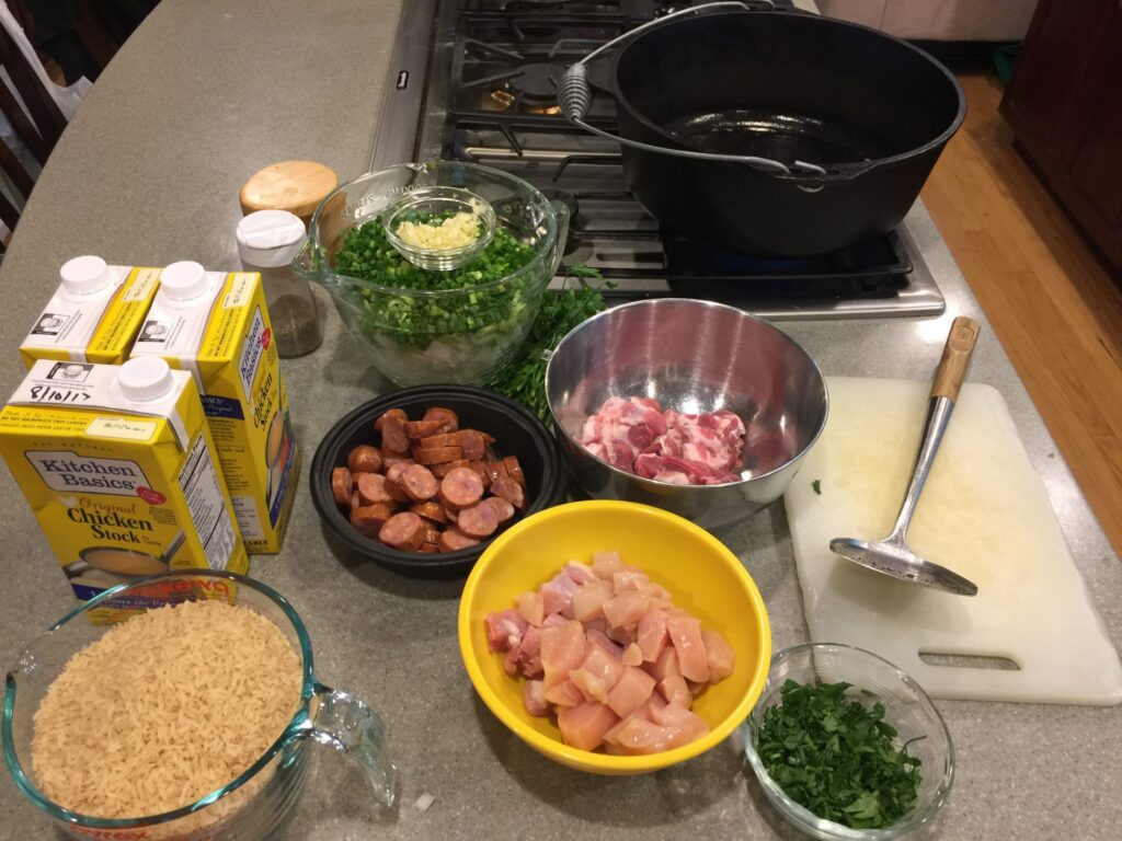 Ingredients for cajun jambalaya