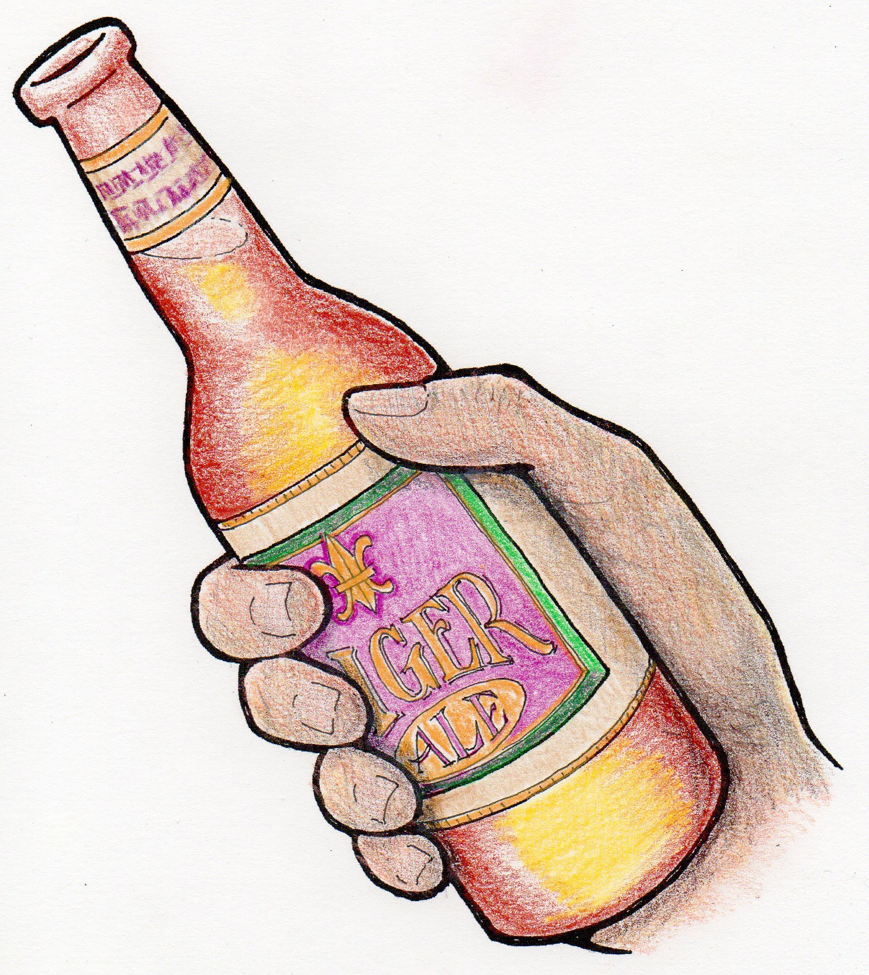 graphic depiction of beer bottle in a hand