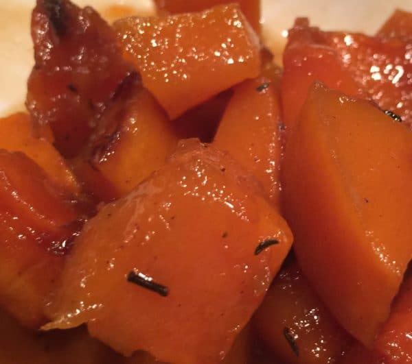 Roasted butternut squash with rum sauce