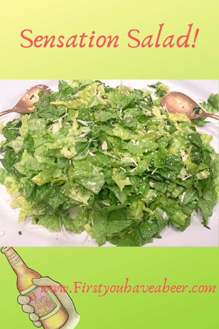 A Sensation Salad stands out for its simplicity. The dressing gets its characteristics from prominent lemon and garlic flavors along with the sharp and salty contribution of Romano cheese. Combined with simple, light oils, these flavors make plain old iceberg or romaine lettuce stand out as truly sensational.