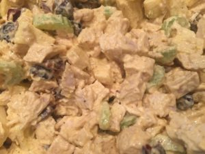 Chopped Chicken Blended with Apples, Celery, Dried Cranberries and a Curry-Lemon Dressing