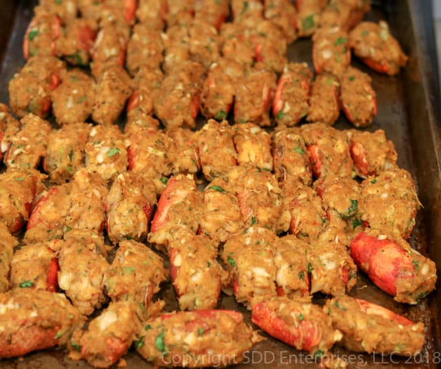 Stuffed crawfish heads out of the oven