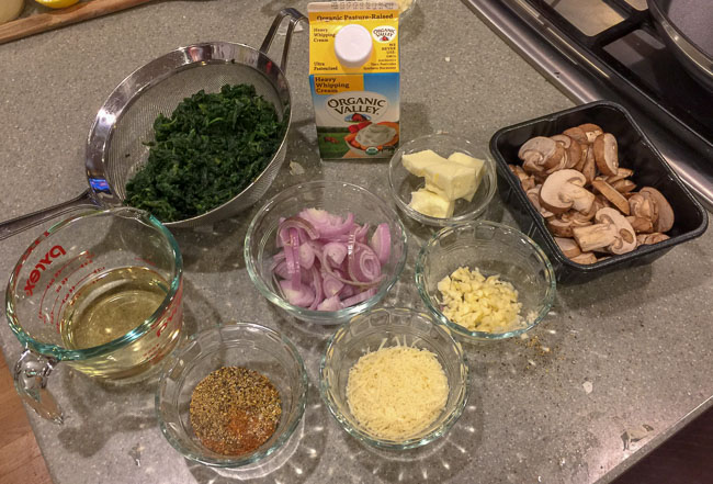 Ingredients-Creamy Spinach with Mushrooms