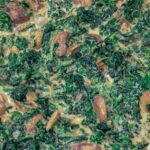Creamy Spinach with Mushrooms-Close Up
