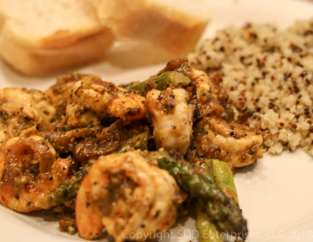 Shrimp with Asparagus with Quinoa and French Bread