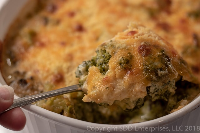 Broccoli and cheese casserole with mushrooms