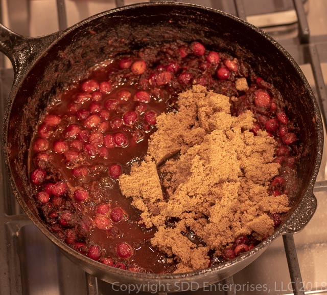 Cranberry BBQ Sauce in the dutch oven