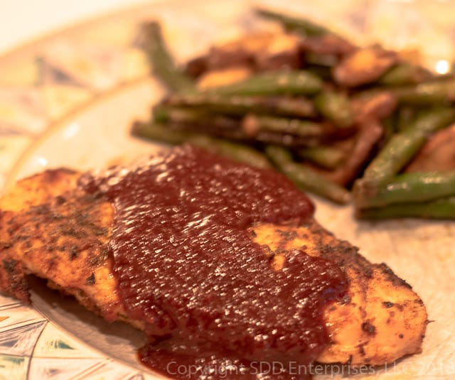 Cranberry BBQ Sauce on Grilled Chicken with Green Beans