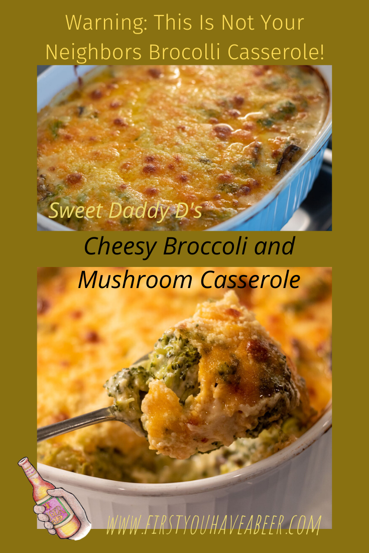 Not your neighbor\'s broccoli casserole. Fresh broccoli mixed with sauteed mushrooms and gruyere and cheddar cheeses melted into a creamy bechamel sauce. Put away the cream of mushroom soup...this will change the way you look at broccoli casseroles from now on!