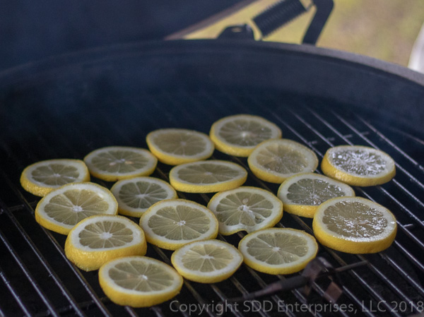Lemon slices on the grill