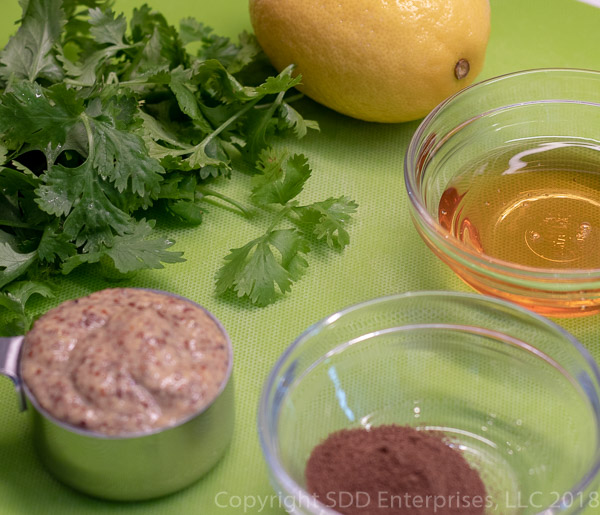 Cilantro-Creole Mustard Marinade ingredients