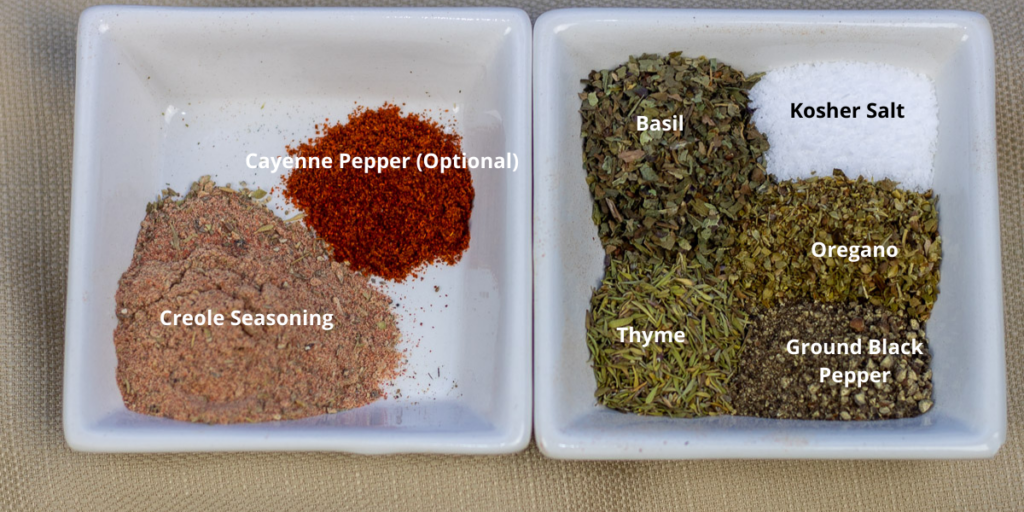 herbs and spices in white bowl for shrimp and grits with labels