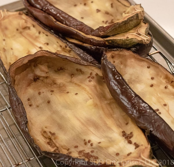 Hollowed out eggplant shells