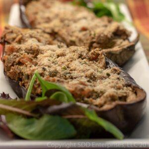 Eggplant stuffed with shrimp on a platter