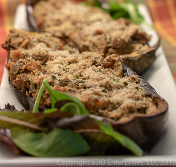 Eggplant stuffed with shrimp on a platter