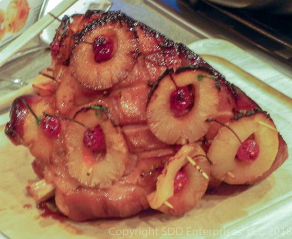 Baked Ham with pineapples and cherries and glaze