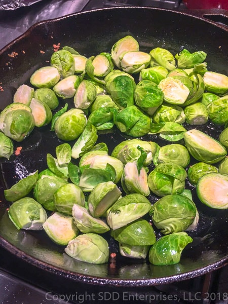 Brussels Sprouts with Pancetta in a cast iron skillet