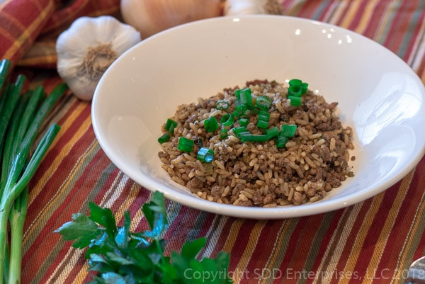 Cajun Dirty Rice in a white bowl with green onion garnish with fork