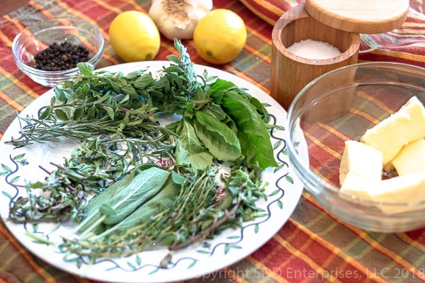 Ingredients for herb butter paste