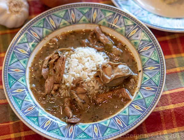 Turkey Oyster Gumbo in a bowl with rice