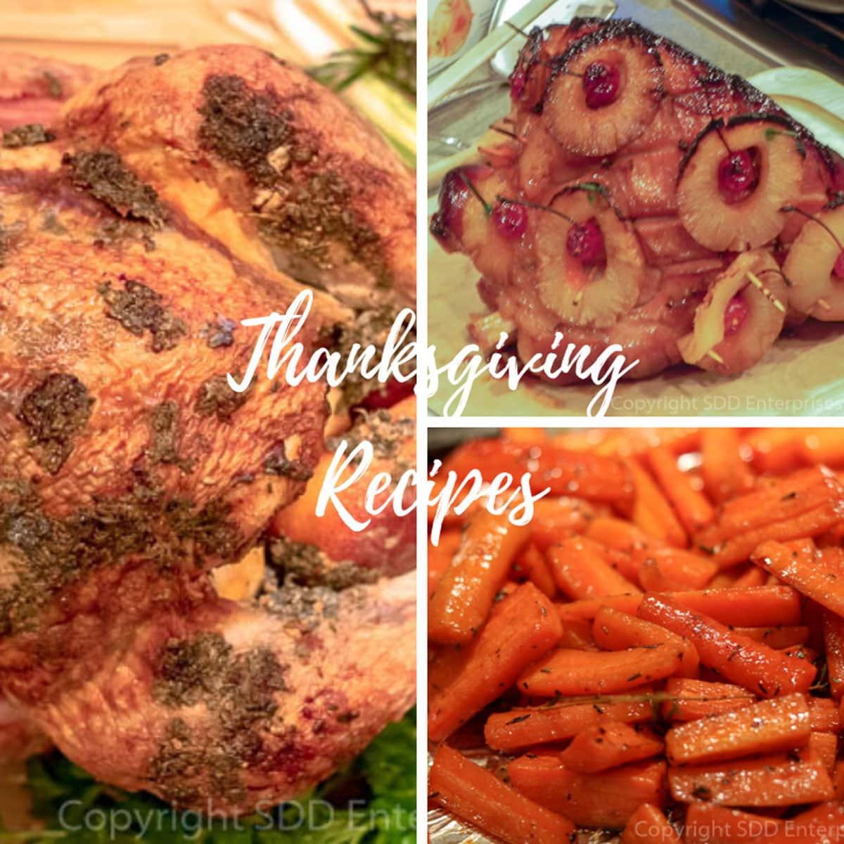 Roast turkey image, ham image, barrots image with graphics