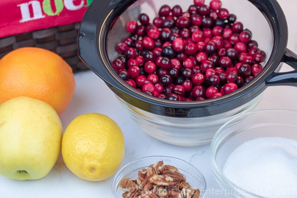 ingredients for cranberry relish