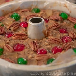 Fruit cake in an angel-food pan