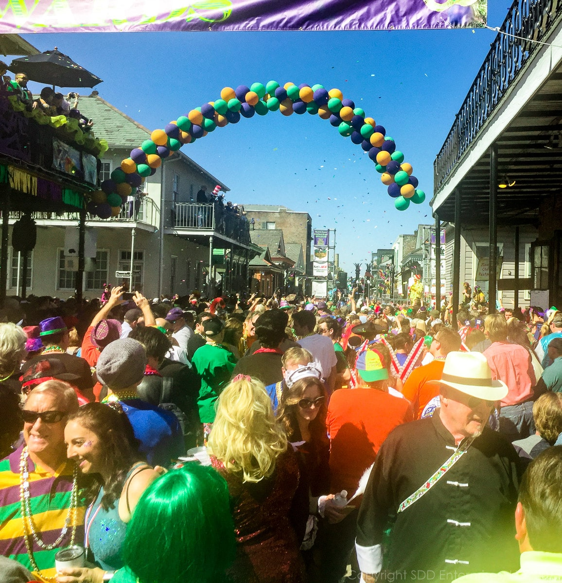 Crowds on Bourbon Street on Mardi Gras Day