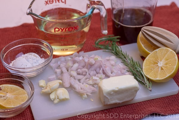 ingredients for meyer lemon sauce