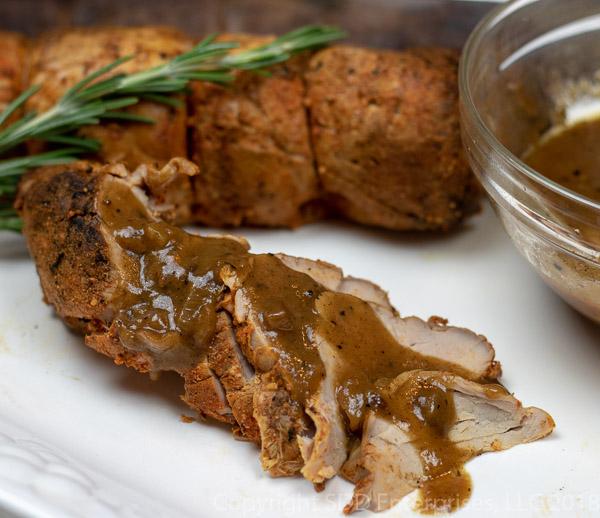 Roasted Pork Tenderloin with Meyer Lemon Sauce sliced on the bias