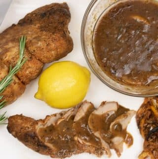 sliced pork tenderloin with meyer lemon sauce and a meyer lemon
