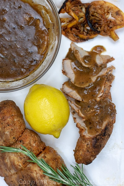 If you like lemon flavor, you are in for a treat with this lemony sauce with a twist made with Meyer Lemons, a cross between a Eureka Lemon and a Mandarin orange. When added to butter, garlic, white wine and fresh rosemary, you have a versatile sauce great on pork, chicken, fish or just about anything you can imagine. Pork Tenderloin is an ideal cut of meat and when prepared with a smoky citrus-y rub then Meyer Lemon Sauce is ladled on..watch out!