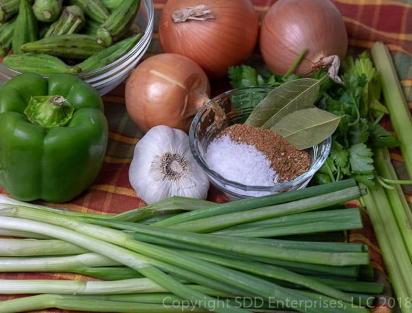 vegetable and spices for shrimp and okra gumbo