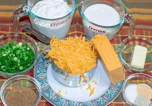Ingredients for Cajun Twice Baked Potatoes