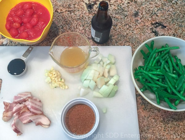 prepared ingredients for creole green beans
