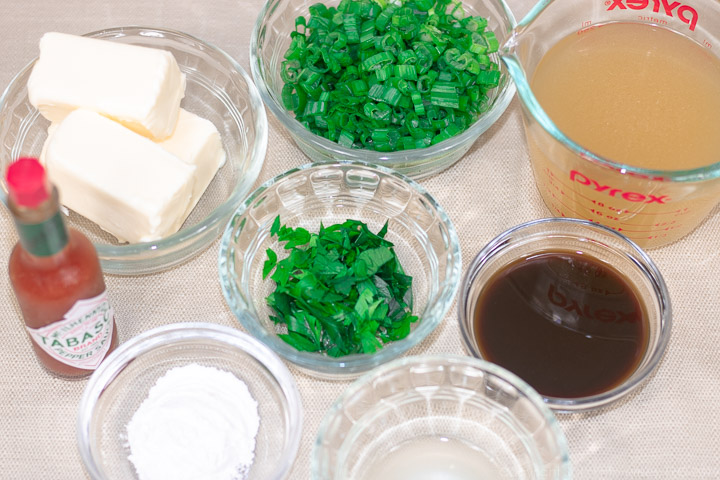 prepared ingredients for meuniere sauce