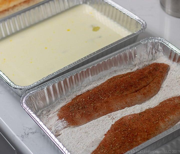 seasoned trout filets in flour