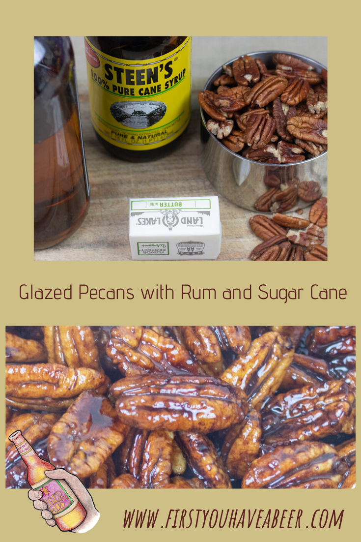 Glazed Pecans...Louisiana pecans glazed with cane syrup and rum, it doesn't get much more South Louisiana than that. The distinctive flavors of these treats make them perfect for a party or to add an interesting dimension to bread pudding, salads and beyond! And the best part, it can all be done on the top of the stove!