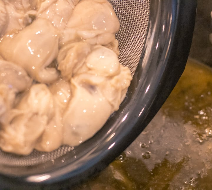 oysters before adding to the turkey oyster gumbo pot