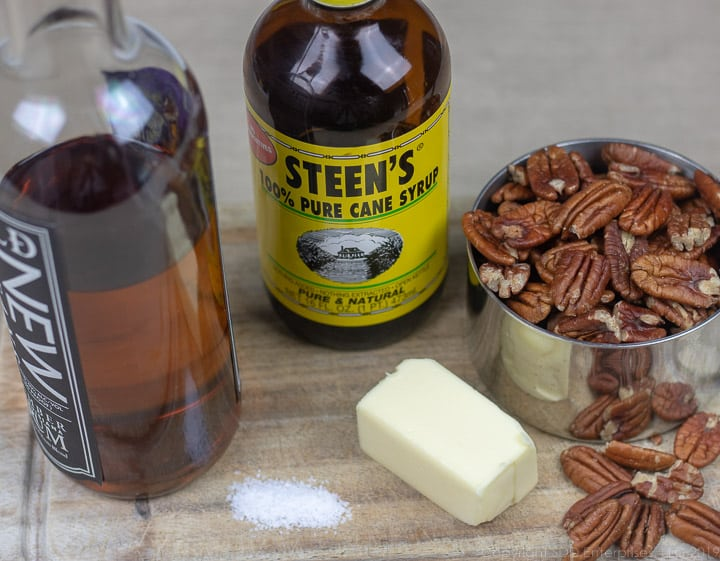 cane syrup, rum, pecans butter and salt for glazed pecans