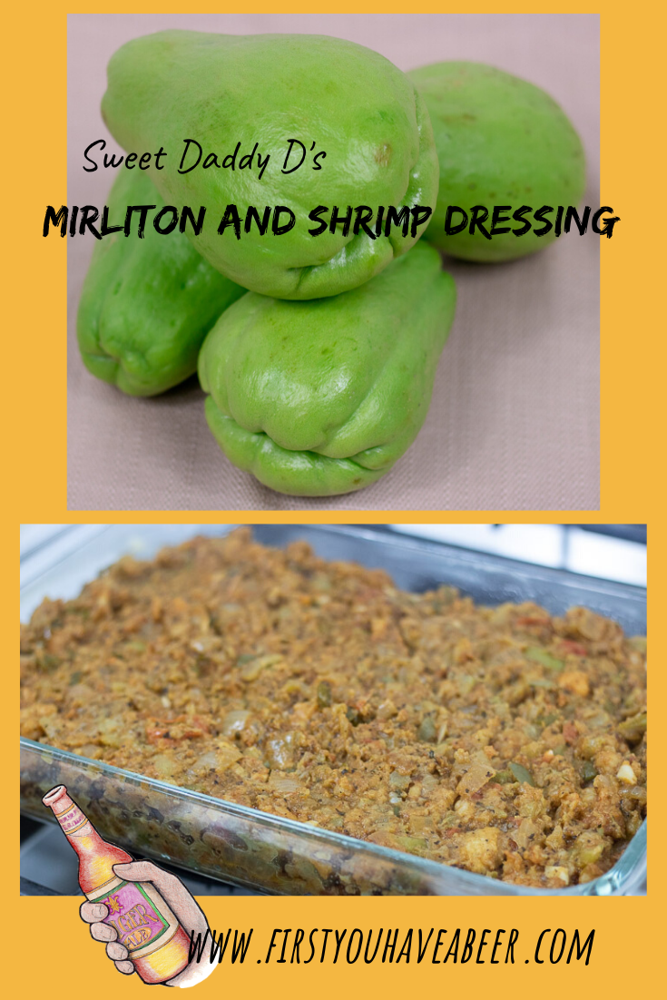 If South Louisiana was a vegetable, it would be a mirliton, also called chayote. Mirliton and Shrimp Dressing is a holiday staple in South Louisiana, combining the mild flavors of Mirliton, with Gulf Shrimp and Creole seasonings. The outcome is a delicious, homey Dressing, special enough for the holiday table but simple enough to enjoy anytime.