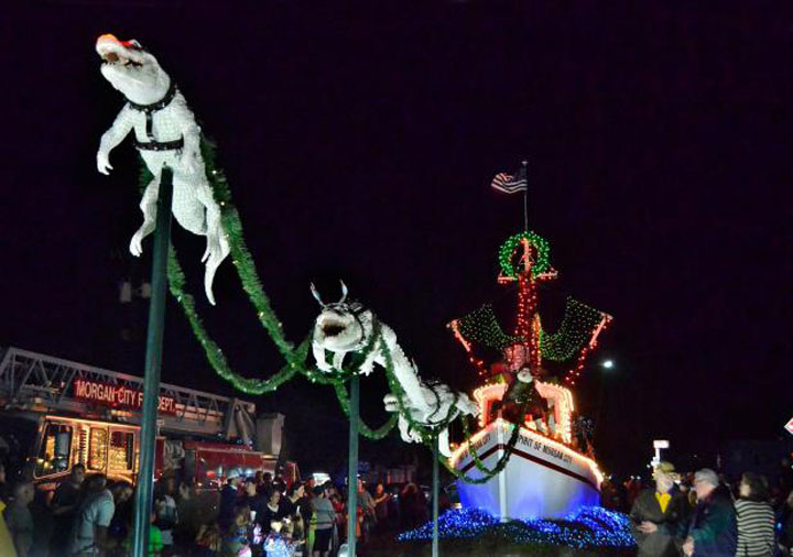 the spirit of morgan city with santa and alligator reindeers