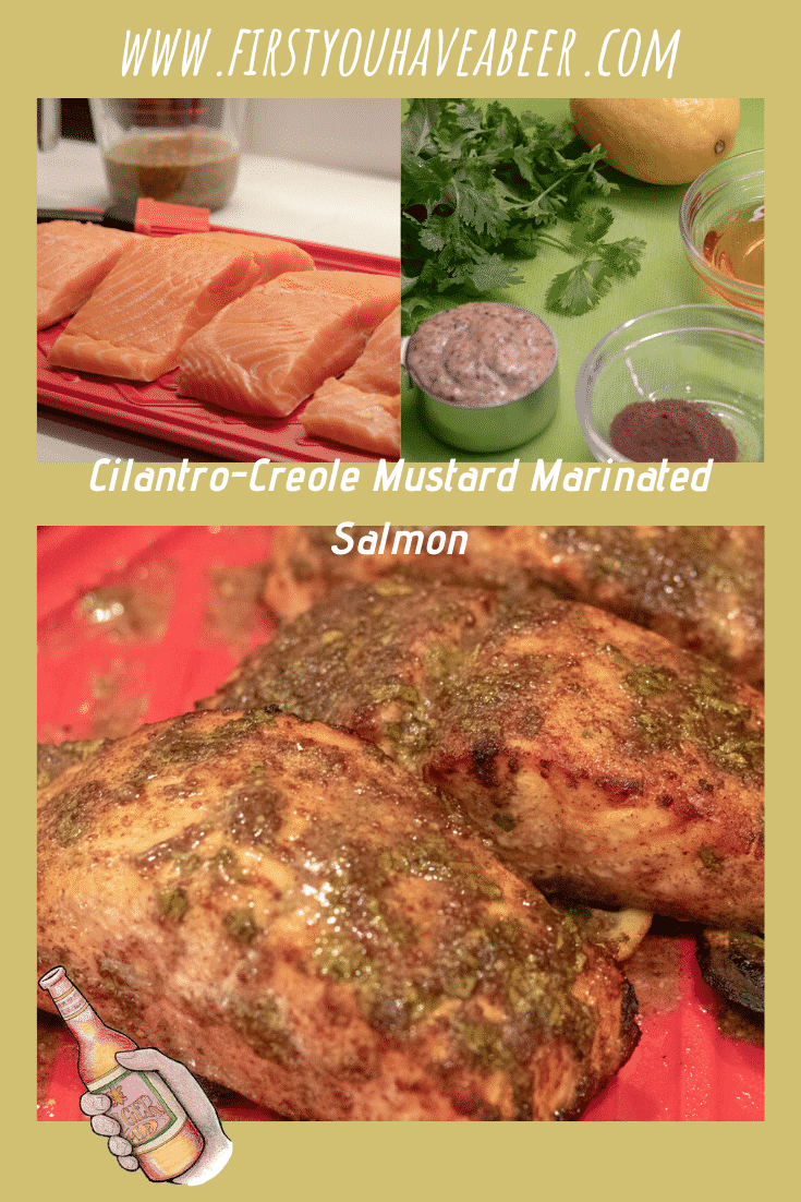 Fresh salmon, give it a Creole touch with this marinade made with cilantro, honey, lemon, allspice and a base of Creole mustard. Perfect when baked or grilled, it's so simple, you won;t believe the depth of flavor.