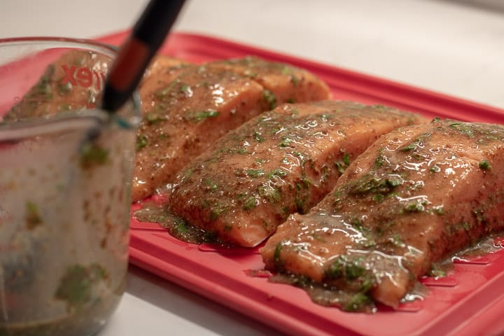 salmon marinating with cilantro creole mustard marinade on a red platter with extra marinade in a measuring cup