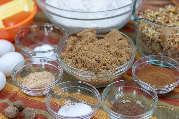 flour, brown sugar and spices for fruitcake