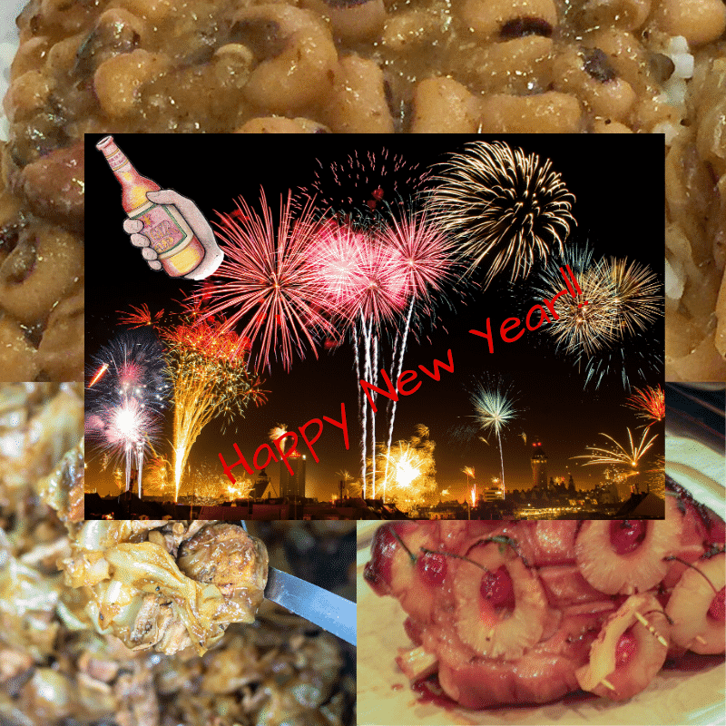 black-eyed peas, smothered cabbage and ham with new years graphics