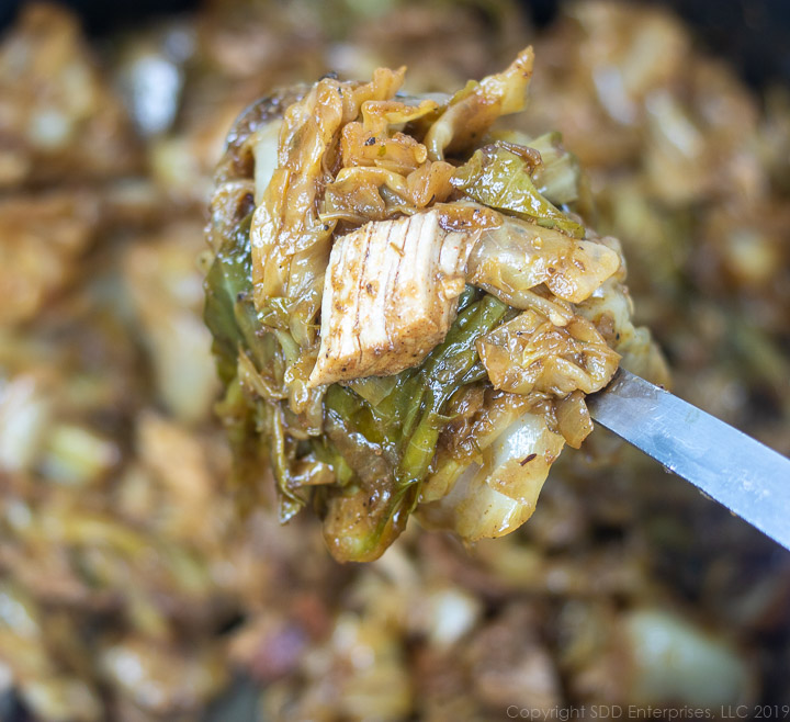 a spoonful of smothered cabbage and pork
