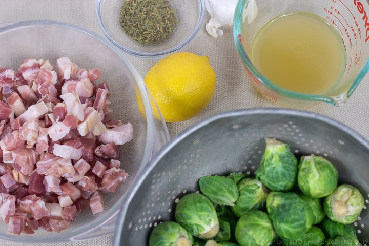 brussels sprouts, pancetta, lemon, garlic, thyme and stock for roasted pancetta